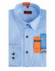Мужская рубашка приталенная (Slim Fit) голубая с длинным рукавом