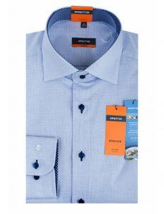 Мужская рубашка приталенная (Slim Fit) голубая в клетку с длинным рукавом