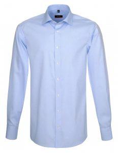 Мужская рубашка приталенная (Slim Fit) голубая со стандартным рукавом