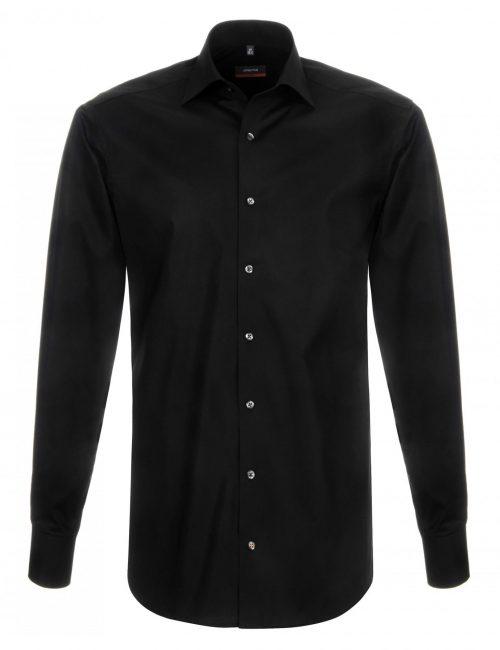 Мужская рубашка приталенная (Slim Fit) черная со стандартным рукавом