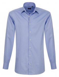 Мужская рубашка прямая (Modern Fit) голубая в полоску со стандартным рукавом