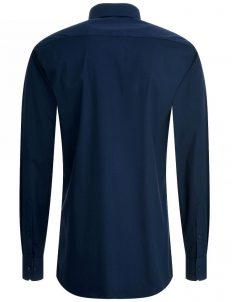 02-4677-F14B-19 (3) Мужская рубашка приталенная (Slim Fit) синяя со стандартным рукавом