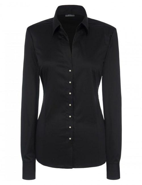 Женская блуза прямая (Modern Fit) черная со стандартным рукавом