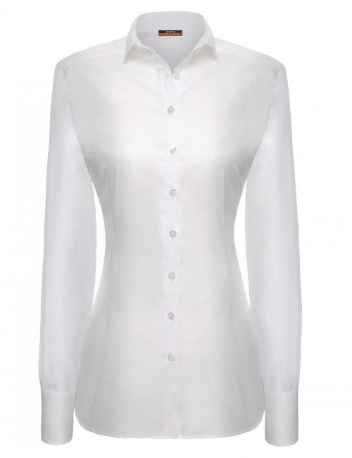 Женская блуза приталенная (Slim Fit) белая со стандартным рукавом