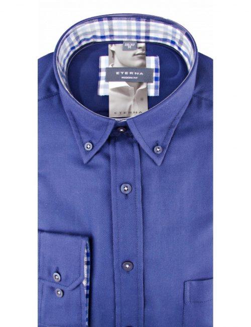 Мужская рубашка прямая (Modern Fit) синяя со стандартным рукавом