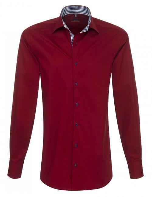 Мужская рубашка приталенная (Slim Fit) бордо с длинным рукавом