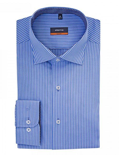 Мужская рубашка приталенная (Slim Fit) синяя в полоску с длинным рукавом