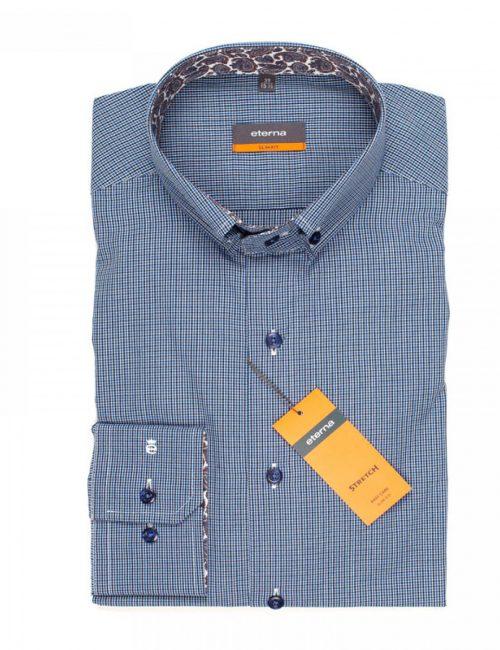 Мужская рубашка приталенная (Slim Fit) синяя в клетку со стандартным рукавом