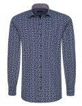 02-8964-X167-18 (2) Мужская рубашка прямая (Modern Fit) синяя с принтом со стандартным рукавом