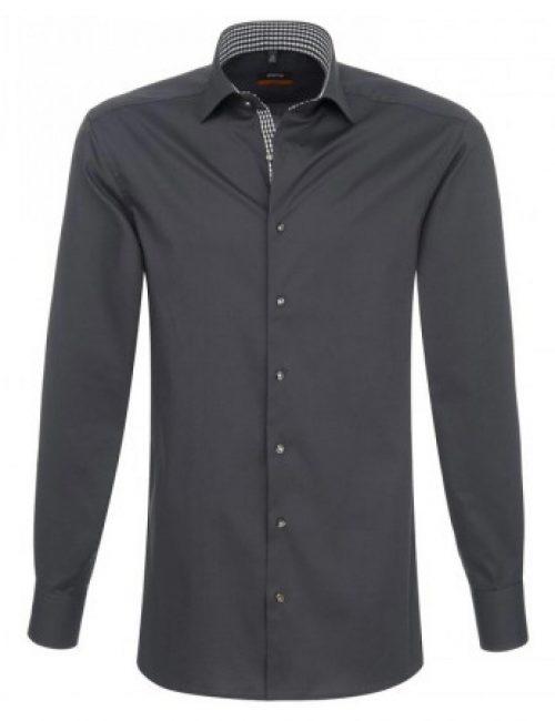 Мужская рубашка приталенная (Slim Fit) серая с длинным рукавом