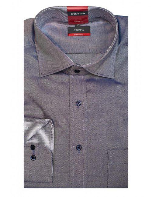 Мужская рубашка прямая (Modern Fit) сиреневая в клетку со стандартным рукавом