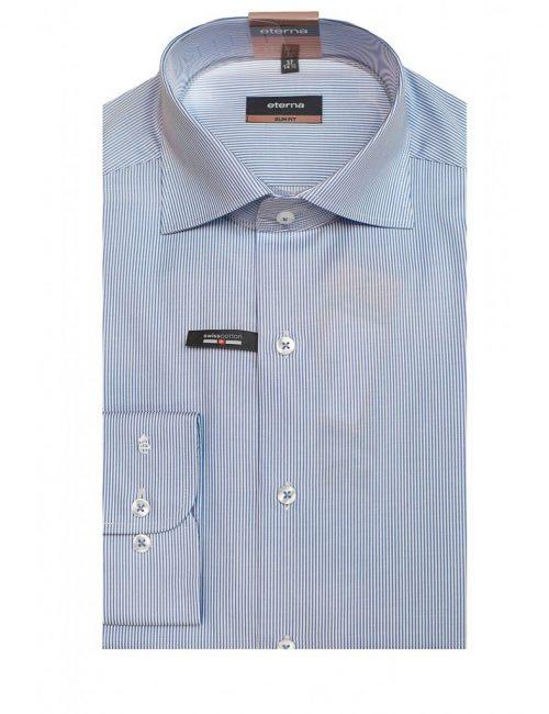 Мужская рубашка приталенная (Slim Fit) голубая в полоску с длинным рукавом