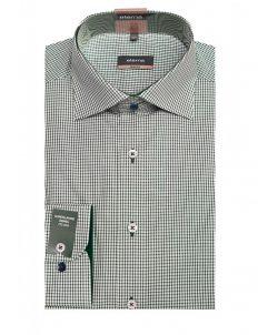 Мужская рубашка приталенная (Slim Fit) зеленая в клетку с длинным рукавом
