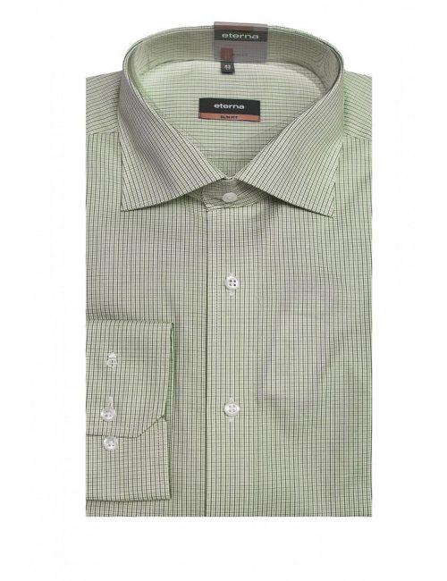 Мужская рубашка приталенная (Slim Fit) зеленая в клетку со стандартным рукавом
