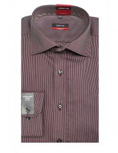Мужская рубашка прямая (Modern Fit) бордо в полоску с длинным рукавом