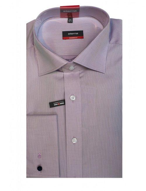 Мужская рубашка прямая (Modern Fit) сиреневая в полоску со стандартным рукавом