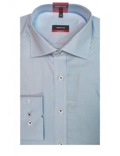 Мужская рубашка прямая (Modern Fit) голубая со стандартным рукавом