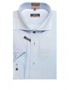 Мужская рубашка приталенная (Slim Fit) в полоску с длинным рукавом