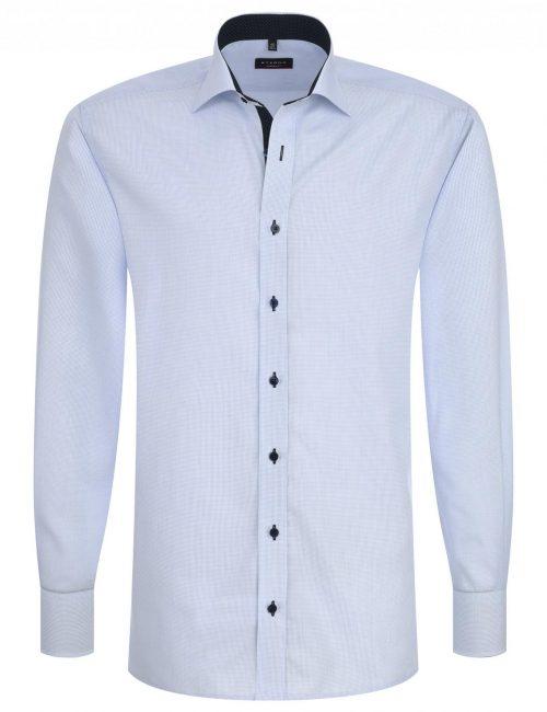Мужская рубашка прямая (Modern Fit) голубая в клетку с длинным рукавом
