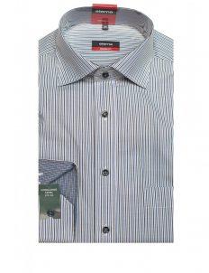 Мужская рубашка прямая (Modern Fit) голубая в полоску с длинным рукавом