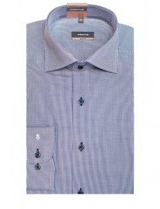 02-8841-F187-19 (2) Мужская рубашка приталенная (Slim Fit) голубая в клетку со стандартным рукавом