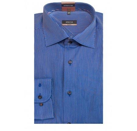 Мужская рубашка приталенная (Slim Fit) синяя в полоску со стандартным рукавом
