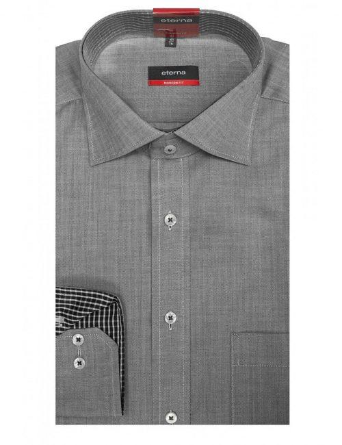 Мужская рубашка прямая (Modern Fit) серая со стандартным рукавом