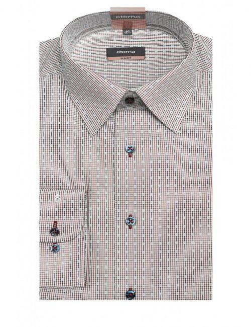 Мужская рубашка приталенная (Slim Fit) розовая в клетку со стандартным рукавом