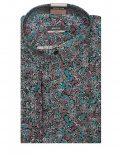 Мужская рубашка приталенная (Slim Fit) черная с принтом со стандартным рукавом