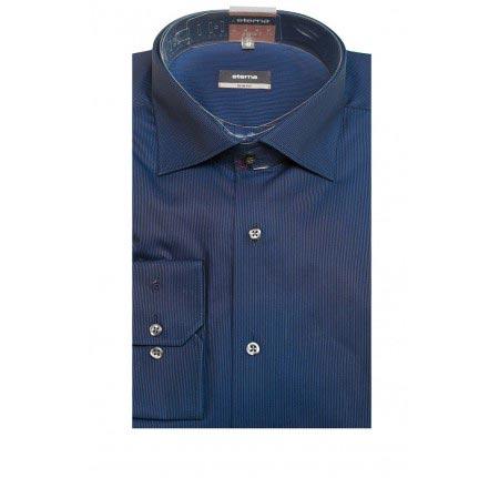 Мужская рубашка приталенная (Slim Fit) синяя со стандартным рукавом