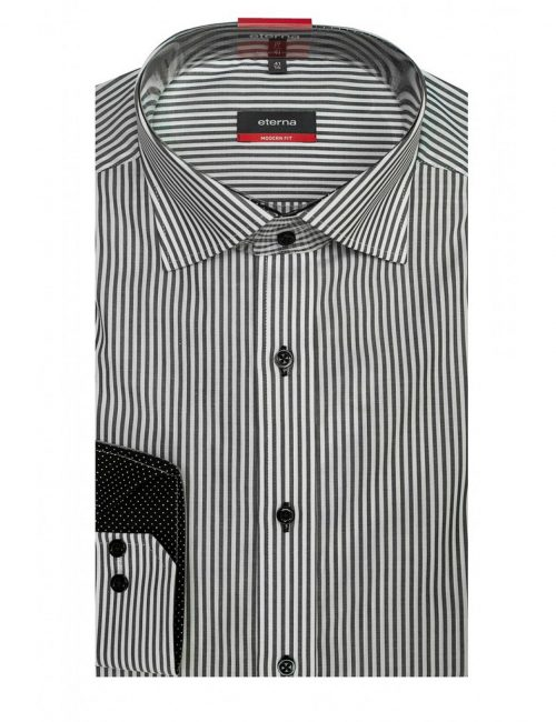 Мужская рубашка прямая (Modern Fit) черная в полоску со стандартным рукавом
