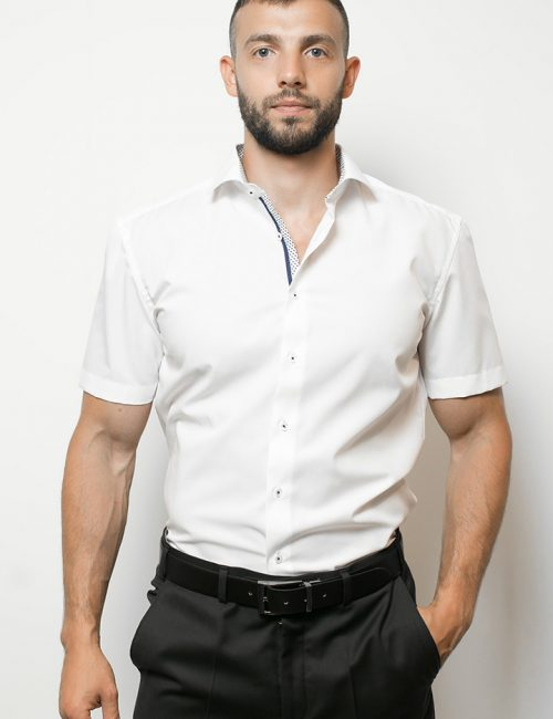 03-4699-g177-00 (1) Шведка приталенная (Slim Fit) белая с коротким рукавом