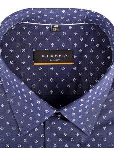02-8570-F18B-19 (3) Мужская рубашка приталенная (Slim Fit) синяя с якорями со стандартным рукавом