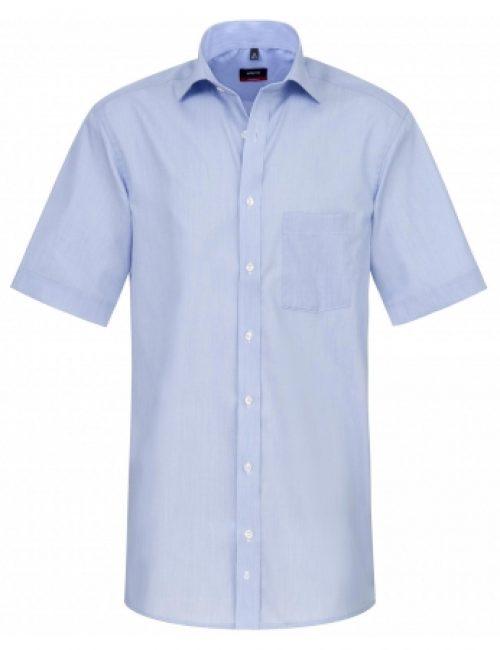 Шведка прямая (Modern Fit) голубая с коротким рукавом