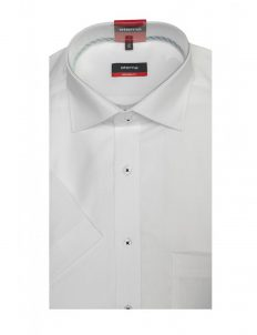 03-4290-C187-00 (2) Шведка прямая (Modern Fit) белая с коротким рукавом