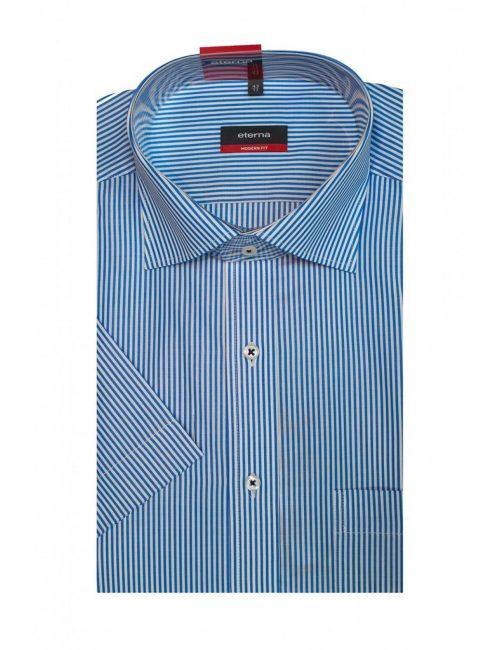 Шведка прямая (Modern Fit) синяя в полоску с коротким рукавом