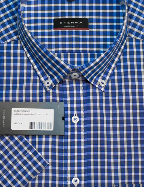 Синяя рубашка в клетку с короткими рукавами 100% хлопок