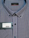 Рубашка с короткими рукавами в сине-белую клеточку 100% хлопок