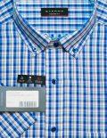Рубашка с коротким рукавом в клеточку синяя 100% хлопок