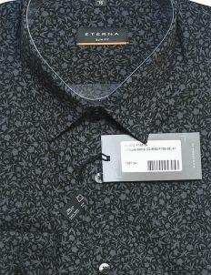 Мужская рубашка Slim Fit черная с рисунком 100% хлопок