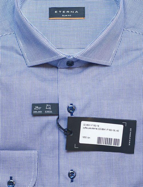 Мужская рубашка Slim Fit голубая в мелкую клетку 100% хлопок