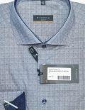 Мужская рубашка в клетку голубая 100% хлопок