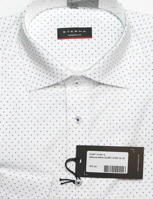 Мужская рубашка прямого кроя белая в горошек 100% хлопок