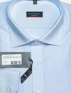 Рубашка с длинным рукавом голубая однотонная 100% хлопок