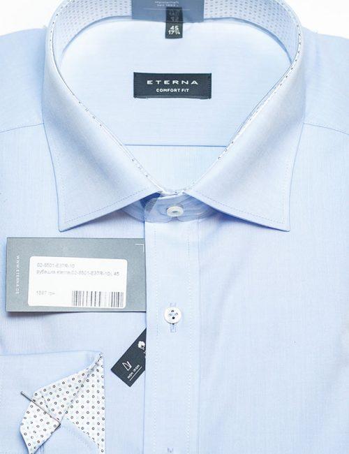 Рубашка голубая прямого кроя 100% хлопок
