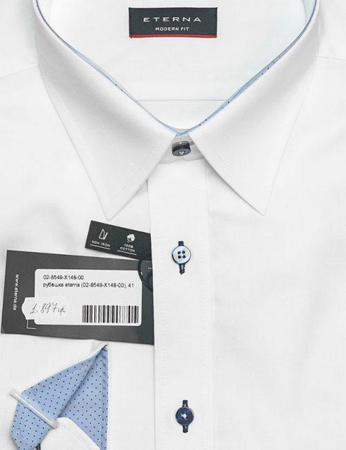 Мужская белая рубашка со стандартным рукавом 100% хлопок