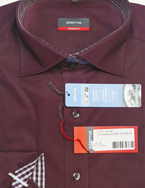 Рубашка цвета бордо классического кроя 100% хлопок