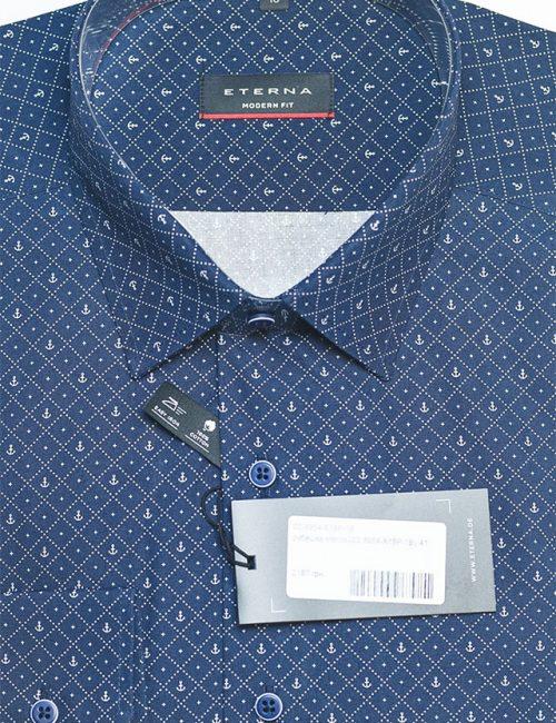 Мужская рубашка синяя с орнаментом классического кроя 100% хлопок