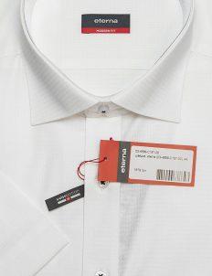 Рубашка белая в орнамент с коротким рукавом 100% хлопок