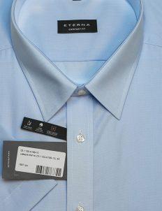 Мужская рубашка голубая с коротким рукавом 100% хлопок
